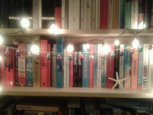 Miniature baubles brightening up my bookshelf!