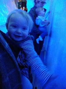 Maddie and her friend Anna having a feel of the ice wall at The Deep, Hull's aquarium